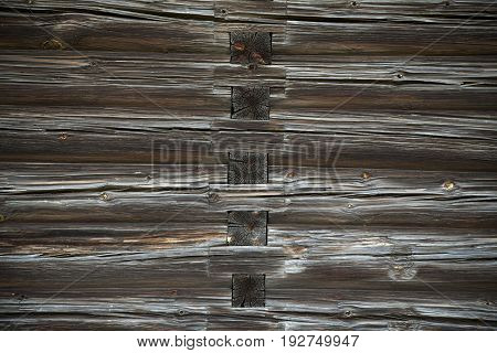 Old Log Cabin Wall Texture. Dark Rustic House Log Wall. Horizontal Timbered Background.