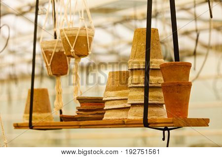 Flower market concept. Ceramic pots standing on shelf hung from ceiling in greenhouse