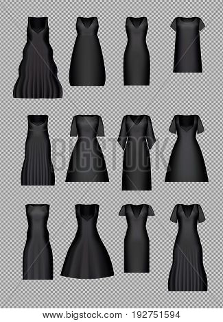 Little Black Dresses. Classic cocktail evening lady clothes set. Vector illustration. Gradient mesh