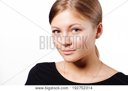 Beautiful woman face close up studio isolated on white