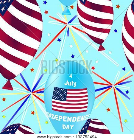 US Independence Day Seamless Pattern. Flying Rubber Balloons in Colors of the USA Flag. Ornamental wallpaper. Illustration for backgrounds