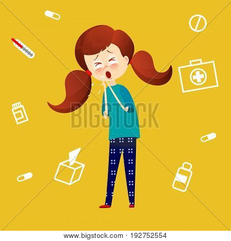 Sick child with fever and illness . Kid catch cold. Young girl got flu and coughing. Sickness symthtomps vector illustration in cartoon style