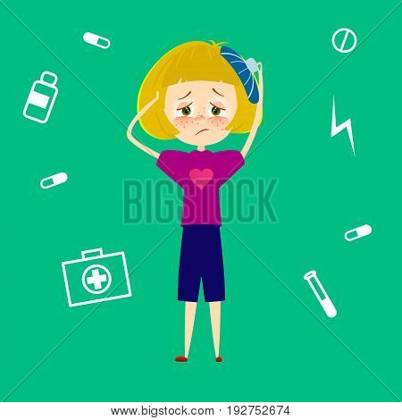 Woman headache. Sick young girl with migraine, tired and feel pain and suffering from stress. Child with fever and illness. Sickness symptoms vector illustration in cartoon style