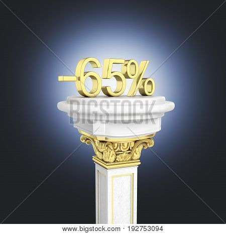 Gold Text 65 Percent Off Standing On The Pedestal Isolated On Dark Blue Gradient Background 3D Rende