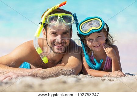 Little beach daughter father snorkeling mask fun white