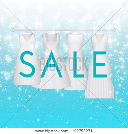 Sale clearance background with white wedding dress. Vector background for banner, poster, flyer, card, postcard, cover, brochure. For prom gowns with sale text. Wedding gown discount.