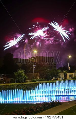 Fireworks Above Water Fountain