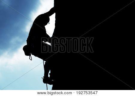 Man silhouette rock climbing climb rock climbing sport