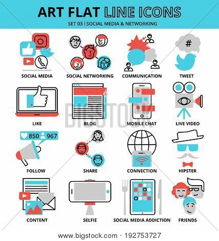 Modern flat thin line design vector illustration set of social media and networking icons for graphic and web design