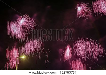 Brightly colorful fireworks on twilight background with street light.