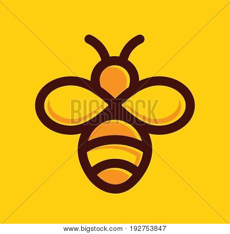Bee logo. Bee icon symbol. Vector stock.