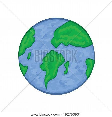 Planet earth icon. Earth in cartoon style. Globe icon. Vector stock.