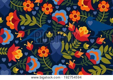 Seamless pattern with raven, symbols of the heart and flowers. Background with flat shapes in blue, green, red, orange and yellow colors. Texture in ethno style. Vector illustration.