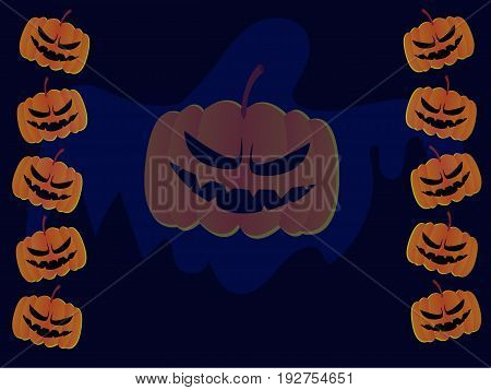 Halloween pumpkin with ghost as background that can used to be backdrop or greeting card.