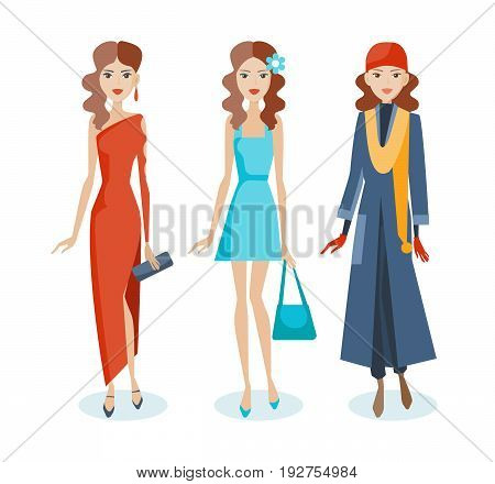 Set of fashion girls in beautiful evening dresses, summer sarafans and autumn smart clothes, with various accessories in their hands. Vector illustration in cartoon style, isolated on white background.