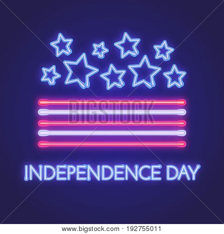 Vector neon sign board for Independence day of America. Illustratio for yur design.