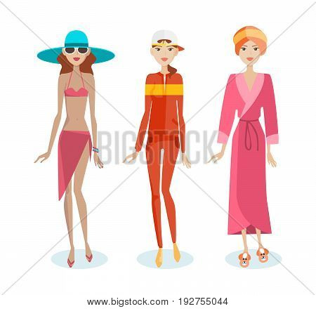 Set of girls in summer beach clothes, in a sports suit, in home clothes - a dressing gown. Vacation, relaxation, travel. Vector illustration in cartoon style, isolated on white background.