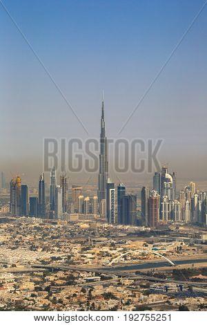 Dubai Burj Khalifa Building Downtown Copyspace Vertical Portrait Aerial View Photography