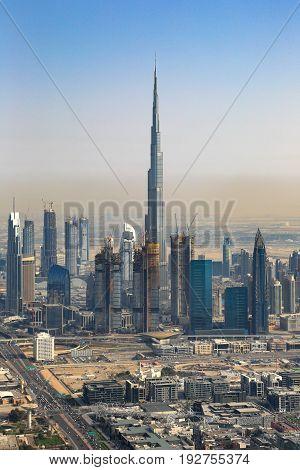 Dubai Burj Khalifa Building Downtown Vertical Aerial View Photography