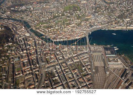 Switzerland Lucerne Chapel Bridge Luzern City Lake Aerial View Photography