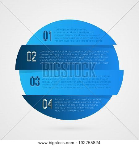 1 2 3 4 progress blue and white symbol. One two three four step vector infographic element. Isolated Circle icon illustration for marketing business project web design template sample text report