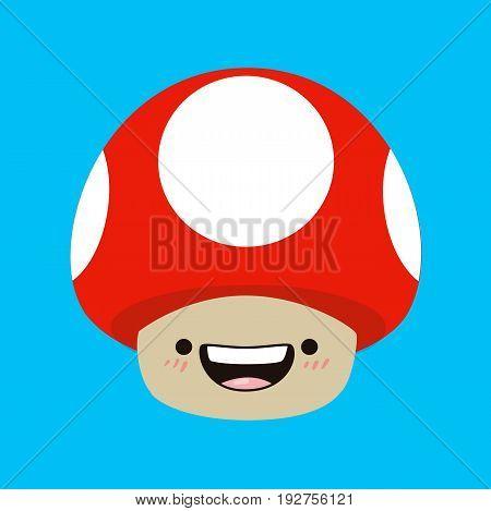 Mushroom kawaii. Mushroom in cartoon style. Vector stock.