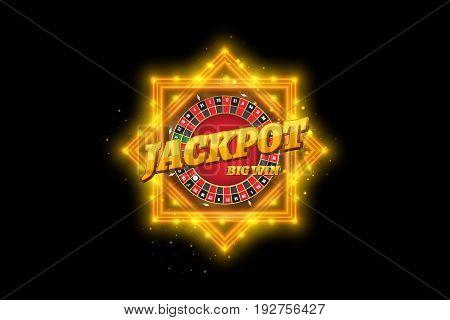 Vector design casino banner. Jackpot gambling retro banner sign decoration. Big win billboard for casino