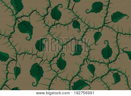 the network of green branches with bright spikes and twisted leaves seamless pattern in fantastic style on a dark background for the different decorations and adornments packaging.