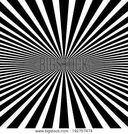 Circular Pattern Of Radial, Radiating Lines. Monochrome Starburst, Sunburst Element.