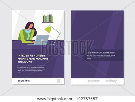 Modern brochure design. Template with businesswoman, abstract modern vector backgrounds. Layout for journal, book, brochure, booklet, leaflet, flyer, poster, postcard, headline, annual report.