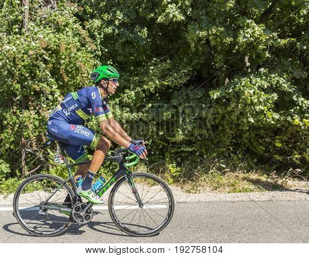 Mont Ventoux France - July 142016: The Spanish cyclist Ruben Plaza Molina of Team Orica-BikeExchange riding on the road to Mont Ventoux during the stage 12 of Tour de France 2016.