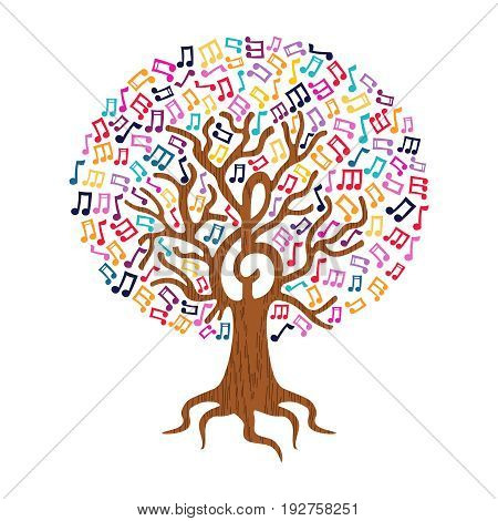 Music Note Tree Concept Nature Care Illustration