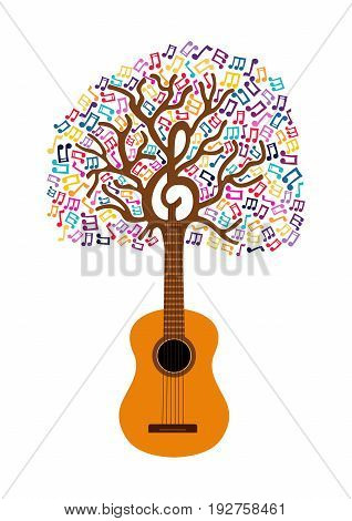 Guitar Tree Music Note Concept Illustration