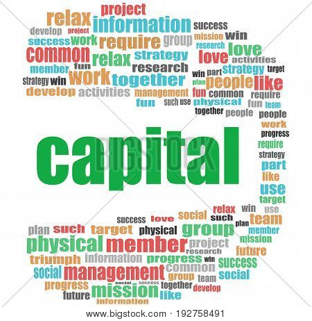 Text Capital. Business Concept . Word Cloud Collage