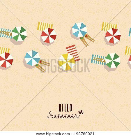 Hello Summer Card Pattern Of Girls On Beach