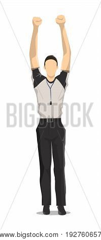 Isolated basketball referee on white background. Jumping man.