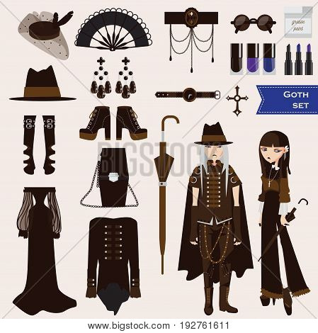 Vector set with dark goth characters of young sad girl nd boy in gothic style clothes. Collection of aaccessories as umbrella long dress hat veil woman hat earrings make-up. Gothic set