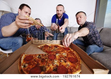 Friends Taking Pizza