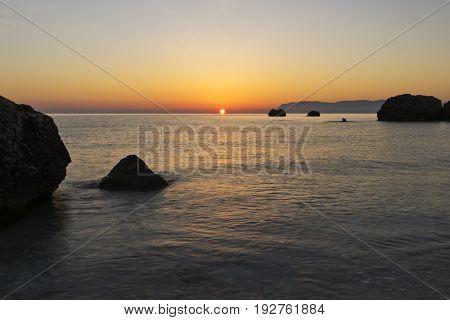 Landscape with the sun and the sea. Sunrise