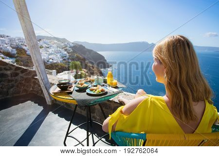Luxurious breakfast with a beautiful view from terrace