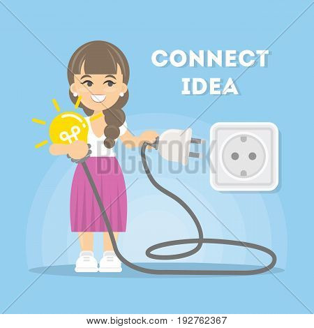 Connection of ideas. Businesswoman with lightbulb and plug.