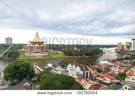 Kuching, Malaysia, June 25, 2017:  Overview Of Kuching City Waterfront, Popular Tourism Destination
