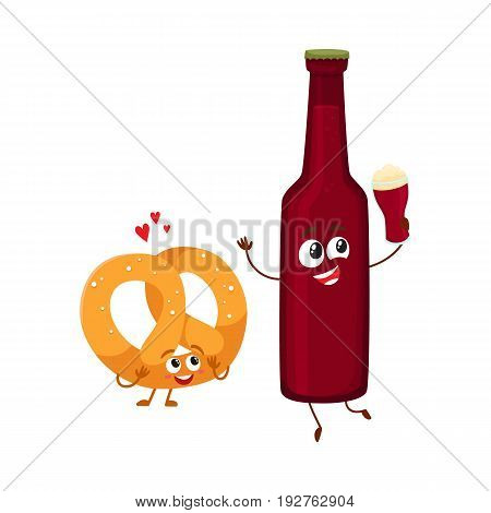 Funny beer bottle and salty pretzel characters having fun, celebrating together, cartoon vector illustration isolated on white background. Funny smiling beer bottle and pretzel characters