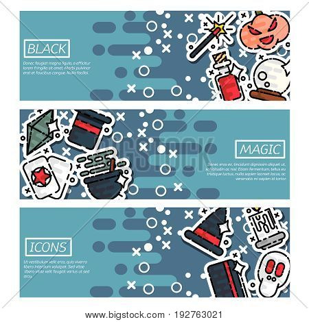 Set of Horizontal Banners about black magic. Trendy Simple vector symbol. Vector illustration, EPS 10