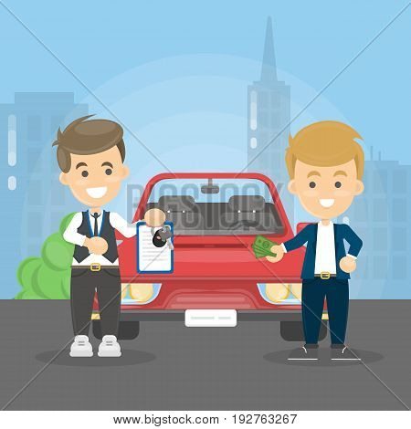Car deal illustration. Man buying new car. Man with documents.