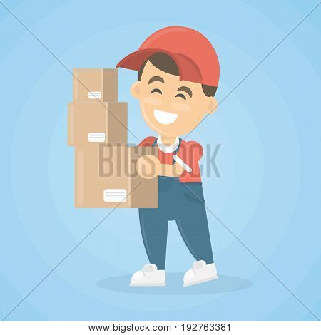 Delivery man with parcel and notes in red uniform on white background.