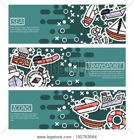 Set of Horizontal Banners about sea transport. Summer leisure trip and tourism backgrounds.