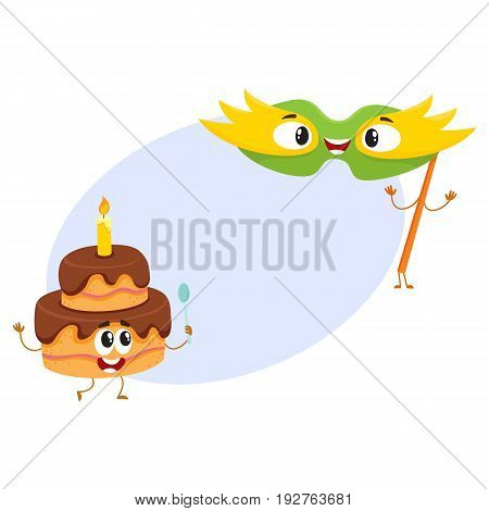 Smiling birthday party characters - mask and two layered cake with candle, cartoon vector illustration with space for text. Funny chocolate birthday cake and fance mask characters, mascots