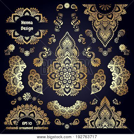 Hand-drawn mehendi golden colored ornamental pattern design set. Indian tattoo template collection. Oriental style decorative sticker templates. Isolated. EPS 10 vector illustration.