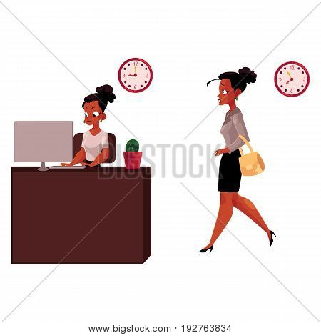 Black, African American businesswoman working on computer in office, going home after work, cartoon vector illustration isolated on white background. Black businesswoman, working in office, going home